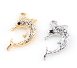 14k gold charms wholesale Canada - 20PCS lot 16x25mm (Gold,Silver Color) Dolphin Hang Pendant Charms Fit For Magnetic Memory Floating Locket