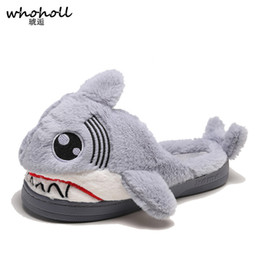 $enCountryForm.capitalKeyWord Australia - Winter Super Animal Funny Shoes For Men and Women Warm Soft Bottom Home&House Indoor Floor Shark Shape Furry Slippers Shallows