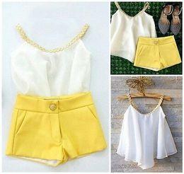 $enCountryForm.capitalKeyWord Australia - Fashion Kid Toddler Baby Girl Chiffon Clothes Halter Tops T Shirt +Pants Outfits Summer