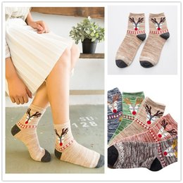 Funny Christmas Socks Canada - Winter Deer Socks Women Christmas Funny Sock For Girls Cute Cotton Thermal Warm Harajuku Happy Sokken C0120