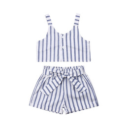 Toddler Winter Outfits UK - Toddler Kids Crop Top T Shirts Waistband Shorts Wide Leg Pants Summer 2019 Striped Loose Outfits Casual Toddler Children Sunsuit