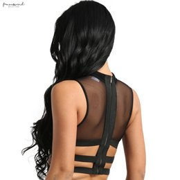 zipper tanks Australia - Ladies Womens Clubwear Sexy Tanks Tops Sleeveless Sheer Mesh See-Through Zipper Elastic Strappy Criss Cross Tees Crop Top