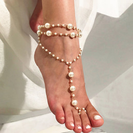 white gold sandals for women NZ - Simple Multilayer Beach Anklets Pearl Beads Yoga Ankle Bracelets for Women Gold Plated Alloy Sandal Foot Jewelry Drop Shipping