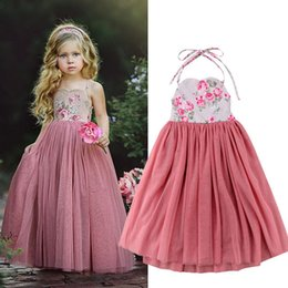Wholesale Hot Ins Fairy Baby girl clothes Maxi Prink Tulle Dress Halter spaghetti strap Floral dresses T Girls clothes Summer