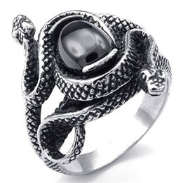 $enCountryForm.capitalKeyWord Australia - Steampunk Rock Roll Punk Chinese Style Men's Stainless Steel Rings Men's Snake Sermon Ring Amulet Gem Gothic Jewelry Accessories