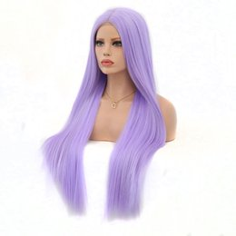 $enCountryForm.capitalKeyWord NZ - Synthetic Lace Front Wigs Light Purple Straight Hair Cosplay Party Wigs Perruque Heat Fiber Middle Parting For Women