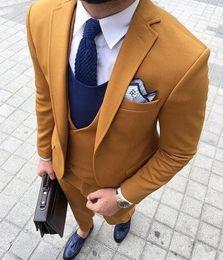 $enCountryForm.capitalKeyWord Australia - 2019 Latest Coat Pant Designs Yellow Double Breasted Men Suit Terno Slim Fit Skinny 3 Piece Tuxedo Custom Blazer Masculino WL