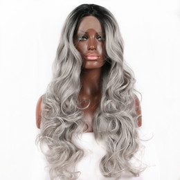 $enCountryForm.capitalKeyWord Australia - Sweetheart Natural Hairline High Temperature Fiber 180% Density Long Body Wave Hair Black Roots Ombre Grey Synthetic Lace Front Wig Real Pic