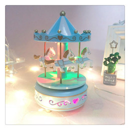 Colorful Wooden Rotation Carousel With LED Lamp Lighted Eight Musical Box Birthday Festival Gift Random Delivery
