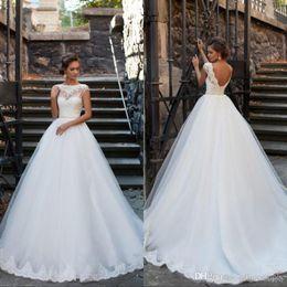 $enCountryForm.capitalKeyWord NZ - Elegant Open Back Wedding Dresses 2019 Sheer Neckline Short Sleeves Lace Appliques Vestios De Novia Bridal Gowns with Pearls Sash