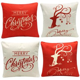 christmas pillows Australia - 4-Pack Happy Halloween Christmas Pillow Covers Cotton Linen Bat Pumpkin Home Throw Pillow Case 18 inch x1