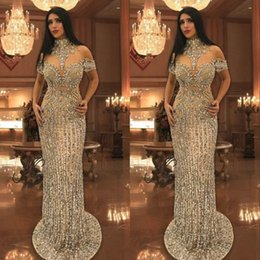 TrumpeT prom dress peplum online shopping - Arabic Rhinestone Crystals Evening Dresses High Neck Beads Short Sleeve Sparkly Mermaid Prom Dress Stunning Dubai Celebrity Dresses