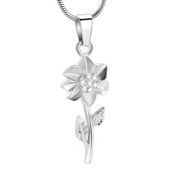 $enCountryForm.capitalKeyWord Australia - IJD12132 Shiny Crystal Inlay Flower Keepsake Pendant Memorial Necklace for Women,Stainless Steel Love Human Pet Ashes Jewelry