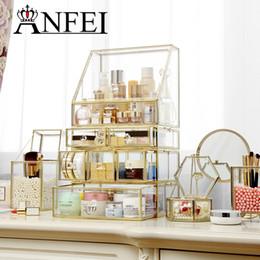 $enCountryForm.capitalKeyWord Australia - ANFEI Drawers Big Clear Lipstick Storage Box Acrilic Transparent Glass And Golden border Make Up Cosmetic Makeup Organizer C218