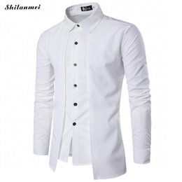 81827dec65a Black White Shirt Men Long Sleeve Patchwork Tuxedo Shirts spring Summer  Single-Breasted Irregular Dress Shirts 2018 Fake 2PCS