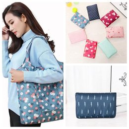 Foldable Flats wholesale online shopping - Fashion Eco friendly Printing Foldable Shopping Bag Tote Folding Pouch Handbags Convenient Large Capacity Storage Bags CCA10878