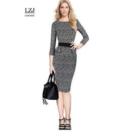 $enCountryForm.capitalKeyWord NZ - Female office pencil jacket vestido retro black and white striped waist lotus leaf stretch pack temperament dress plus size T5190605