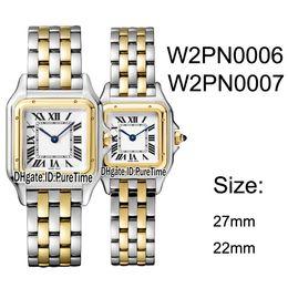 Swiss Quartz Battery Australia - New W2PN0006 W2PN0007 Two Tone Yellow Gold 27mm 22mm White Dial Swiss Quartz Womens Watch Ladies Stainless Steel Watches 10 Puretime B25c3