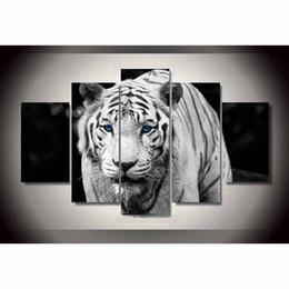 $enCountryForm.capitalKeyWord Australia - White Tiger ,5 Pieces Home Decor HD Printed Modern Art Painting on Canvas (Unframed Framed)