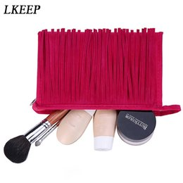 $enCountryForm.capitalKeyWord Australia - Fashion Women Make Up Bag Cosmetic Bag Fleece Fabric Organizer Toiletry Beauty Case Kits Storage Tassel Handbag Lady