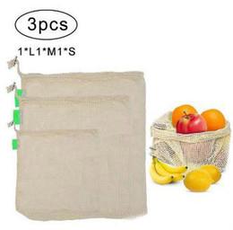 Home Kitchen Set Australia - 3Pcs Reusable Produce Bags for Fruit Vegetable Drawstring Cotton Mesh Potato Onion Storage Bags Home Kitchen Organizer Supplies DLH038