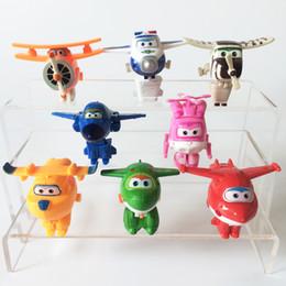 Figures Australia - 8pcs  Lot Super Wings Mini Airplane Robot Toy For Children Action Figures Super Wing Transformation Jet Kids Brinquedos Lf741