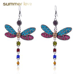 $enCountryForm.capitalKeyWord Australia - High Quality Colorful Crystal Dragonfly Tassel Vintage Drop Dangle Earring for Women Silver Plating Earring Trendy Party Wedding Jewelry