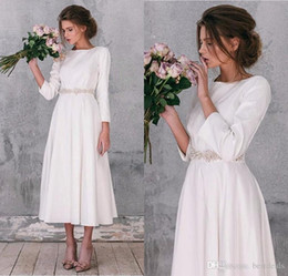 Three Quarters Sleeves Modest Satin Wedding Dress Calf Length Casual Wedding  Gowns with Removable Beads Belt Custom Made Bridal Dresses 776b2f5fd15a
