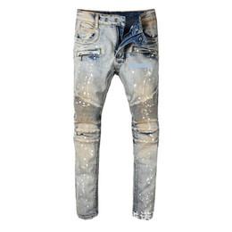 Jeans Pant Paint Australia - Wear Man Paint rock revival mens print Jeans designs for Self-cultivation Bound Feet Pants Tide Male Locomotive