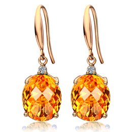 crystal citrine gemstone NZ - Citrine gemstones zircon diamonds dangle drop earrings for women18k gold pendientes mujer crystal jewelry fashion bijoux gift