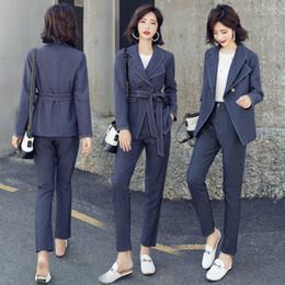 Korean Office Suits Australia - women's Korean Suit Blazer jacket 2 Pieces set Formal Pant Suits Office Lady Uniform Designs for Women Business Suits Work Wear