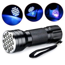 Wholesale Mini Portable UV Ultra Violet Purple 21 LED Flashlight Blacklight High Brightes Torch Lamp Light 395nm