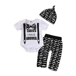 e38101a12c37e Ins hot sale baby boy clothes Baby Suit Boys Clothing Sets baby  romper+Harem Pants+hat 3pcs Boys Suits boy designer clothes A4449
