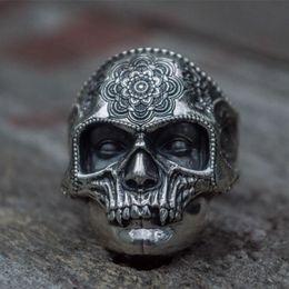 $enCountryForm.capitalKeyWord Australia - Unique Silver Color 316L Stainless Steel Heavy Sugar Skull Ring Mens Mandala Flower Santa Muerte Biker Jewelry