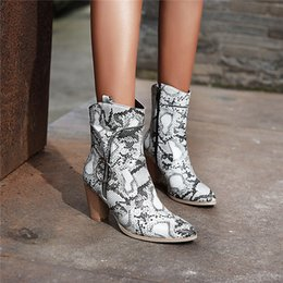Discount womens ankle boots zipper - YMECHIC Plus Size Zipper Designer Snake Print Cowboy Boots for Women Square High Heels Womens Shoes Winter Ankle Boot 20