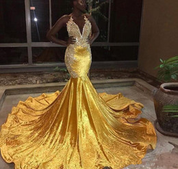 nigeria embroidery lace dresses Australia - 2019 Nigeria Sexy Deep V Neck Gold Mermaid Prom Dresses halter lace appliques Formal Evening Gowns Sparkly Sequined Celebrity Party Dresses