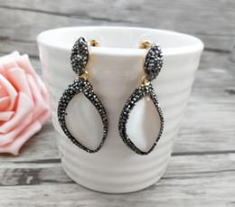 $enCountryForm.capitalKeyWord Australia - Natural druzy druse oval-shaped opal Stone dangle Earrings,handmade Pave Crystal Rhinestone Charm Earring Jewelry ER692