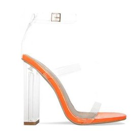 stiletto shoes block heel 2019 - Hot Sale-Transparent PVC Ankle Buckle Strap Women Sandals Rome Style Block Heels Women Pumps Clear High Heels Women Shoe