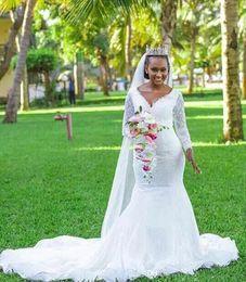 $enCountryForm.capitalKeyWord UK - Nigerian Lace mermaid wedding dresses African Black Girl trumpet bridal Dresses sexy V Neck Long Sleeves wedding gowns Vestidos de novia