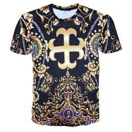 Flower Print T Shirt Men Australia - kyo Fashion Brand Men Golden Flower Luxury medusa T-shirt Summer 3D Print Blue T-Shirt Homme Short Sleeve Royal Baroque Men Clothes Tops