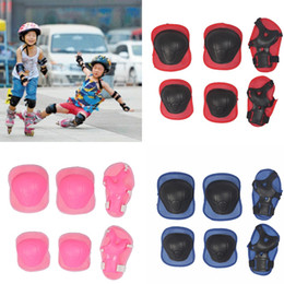 Blue Elbow Australia - 6pcs set Children Skating Protective Gear Sets Knee Elbow pads Bicycle Skateboard Ice Skating Roller Wrist Knee Protector #71133