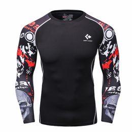 $enCountryForm.capitalKeyWord NZ - Mens Fitness Long Sleeve Rashguard T Shirt Men Bodybuilding Skin Tight Thermal Compression T-Shirt MMA Crossfit Workout Top Gear