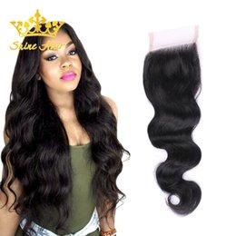$enCountryForm.capitalKeyWord Australia - Shine Hair 8-22 Inch 4*4 Brazilian Ombre Blonde Straight Body Wave Lace Closure Human Remy Virgin Blonde Natural Black Color