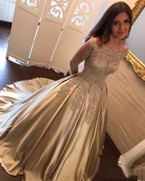 $enCountryForm.capitalKeyWord NZ - Gold Prom Dresses with Long Sleeves Elegant Lace Appliques Evening Dress Ball Gowns Vestido de Festa Longo 2018