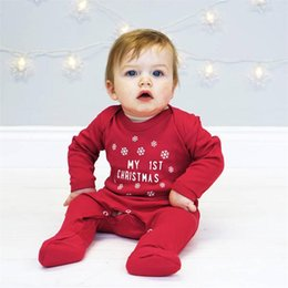 Wholesale Baby Boys Girls My st Christmas Letter Red Rompers Long Sleeve Snow Print Jumpsuit INS Fashion Costumes for Kids Clothes Infant Clothing