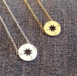 Small Compass Pendant NZ - 1 Geometric hollow Small Compass Pendant Charm Necklaces for Women Men South Direction Necklace Disc Circle Disk Necklaces Coin Jewelry