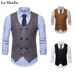 7edf692dc9c02c La MaxZa Fit Herrenanzug Zweireiher Ärmellose Weste Freizeit Anzüge  Business Weste Kleid Formale Vintage Jacke