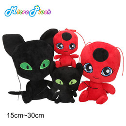 Discount plush ladybug - NEW ladyBug and black cat 15cm plush toys cartoon Stuffed Animals soft doll good quality keychain Pendant plush kids toy
