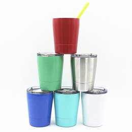 $enCountryForm.capitalKeyWord NZ - Wine Tumbler Colorful 9 oz Drinking Cup with Seal Lids Stainless Steel kids Drinking Insulated Mugs
