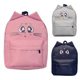 Backpacks New Korean Style Feminine Luna Cat Ear Graffiti Backpack Japanese Sailor Moon School Bags For Teenagers College Leisure Bags Women's Bags